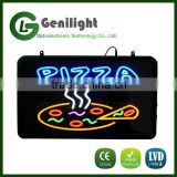 Pizza By The Slice Animated LED Neon Sign With Hanging Chain