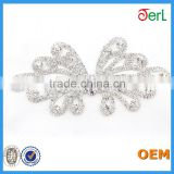 New Design! Small Butterfly Metallic Beaded Lace Applique with Rhinestones for Sash