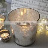 Antique Glass - Giant Star Silver Glass Votive - Wax filled