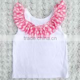 Wholesale Plain white tank top with satin ruffles, ruffle shirts toddler blank baby t-shirts wholesale