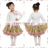 2016 Skirt With Top Designs Baby Gold Sequin Pettiskirt Normal Quality Dance Pettiskirts For Baby Girl Wholesale Bubble Skirt