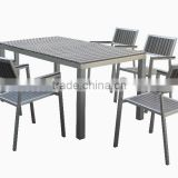 CH-T095,CH-C110 Brushed aluminum frame outdoor patio furniture tables chair sets, plywood table and chairs