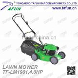 "19"" inch hand push gasoline pull behind lawn mower with SIDE DISCHARGE grass cutter and garden tool"
