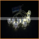 2015 LED christmas beaded garland lights metal round lantern design white color