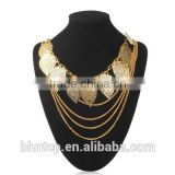 Jewelry Gift Fashion Bohemia Style Leaves Pendant Necklace Jewelry Neck Decor for Ladies (Golden)