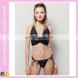 Latest Fancy Sexy Fancy Lace Lingerie Bra Transparent Panty Set Ladies Summer Cross Bralette