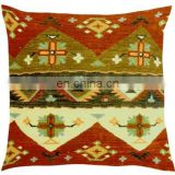 100% Cotton India Handmade Wholesale Hotel Kilim Chair Cushion Cover Throw Home Decor Pillow Cover Ethnic Personalized Cushion