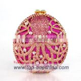 Crystal clutch bags with stone fushia color handmake evening clutch bags for party