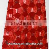 red wholesale wedding African velvet lace fabric/big net organza lace with sequins for sale