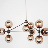 Hotel Indoor Metal Chandelier Frame with Black Iron globe Chandelier