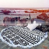 R0080 Round 'Roundie' Beach Towel Thick Terry Cotton with Tassels