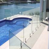 swimming pool frameless glass railing with stainless steel spigot