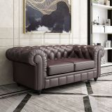 Leather Loveseat Sofa Mid Tufted Century Couch Modern Chesterfield, Antique Look