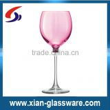 Promotional wholesale handmade pink wine glasses with clear stem/pink goblet/colored wine glasses for home/wedding
