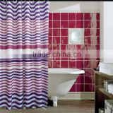 colorful strip printed polyester shower curtain, mildew resistant, waterproof bath curtain