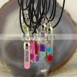 NE2385 Fashion glass bottle filled oil & seed beads pendant necklace,Murano Glass Essential Oil Bottle Pendant Necklace