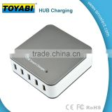 Colorful 40W 5 Port Desktop USB Charger Intelligent Chip Fast Charge with Forsting surface for Cell Phone