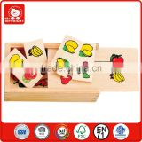 buy toys from china 28 pcs lemon apple banana watermelon fruit design kids lovely small puzzle box hotsale wooden domino set