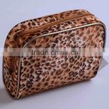 Popular !!! Fashion lady's cheap promotional satin with leopard print pattern design cosmetic bags