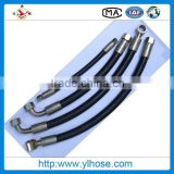 high pressure synthetic multispiral hydraulic rubber hose with fittings