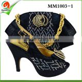 MM1003-1 New Design Italian Shoes With Matching Bags Black Color African Women Shoes and Bags Set Size