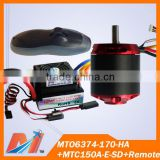 Maytech Free Shipping for 6374 Outboard motor Engine Combo Pack with 150 High Voltage ESC and Remote Control