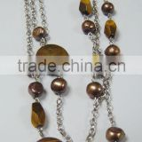 Charm necklace tiger eye with pearl beads necklace jewelry