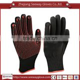 SEEWAY Anti Skid PVC Dots Dipped Black Nylon knitted Industry Assembly Work Gloves for Hands Safety