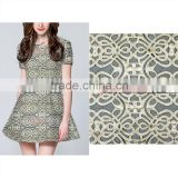 New Design Reto Style laser cutting embroidery with polyster farbric for women's dress with grade A+ quality .