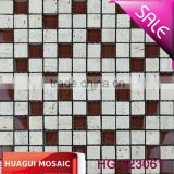 Top grade reddish brown crystal glass mix white traverine mosaic tile for kitchen decoration