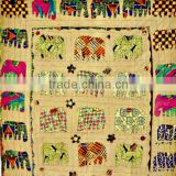 Elephant Patchwork Hand Applique work kantha embroidery Kid's Bed cover bedspread Tapestry