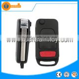 3 + 1 button flip remote key blank case shell with soft fob 4 track blade and logo for Mercedes Benz ML M CL S C SL E EC SEL SEC