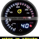 60mm Japanese style analog and digital display boost gauge/ Boost Gauge with Warning alarm/white&amber LED backlight