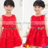 Red bubble skirt for gril, fashionable princess rose dress, lovely party dress for kids with belt
