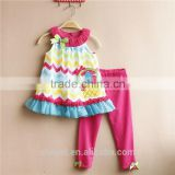 New girls cotton suits colorful stripes flower basket vest suits