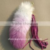 gradual-changed light pink fashion fox tail keychain fur fox tails with tassels for bag hanging or keychain