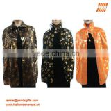 Maggic black satin cape with golden witch and pumpkin printing