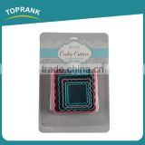 Toprank Colorful 5PCS Plastic Square Cookie Cutter Set,Cake Decorating Tools Fondant Cake Plunger Cutter