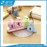 Wholesale promotional kid's gift lovely bird shape clock model plastic double hole pencil sharpener