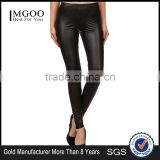 MGOO 2017 Latest Design Black Pu High Quality Leggings Matte Faux Leather Black Pu Leggings Custom Pants
