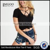 MGOO OEM Service Sexy Triangle Deep Neck Crop Top Women Classic Fit 95% Cotton 5% Spandex Tank Top