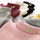 S60639B Autumn Kid High Collar Shirt Cotton Embroidered Long-Sleeved Boys Girl Baby T-shirt