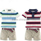 hot boy wear Summer baby boys brand POLO striped t shirt + shorts set New kids casual polo Horse shirt pants sets Children polo