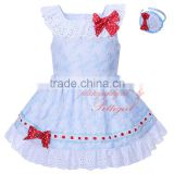 2 red bows girl daily wear dress Kids clothes