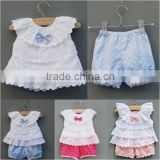 Wholesale carters newborn baby clothes lace ruffle tops and shorts baby clothes set