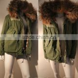 Army green coat 100% cashmere coats lined with hooded jacket faux fur coat for sale