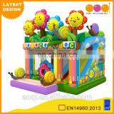 2015 AOQI newest design smily flower inflatable combo jumper with slide with free EN14960 certificate