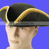 Black felt tricorn hat with gold trim and gold hand belt