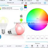 Smart bluetooth LED bulb with android and ios App, supporting timing switch, dancing light with disco, colorpix from camera