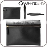 Guangzhou Wholesale High Quality Fashion Black Color Saffiano Leather Lady Party Bag Clutch Bag Purse